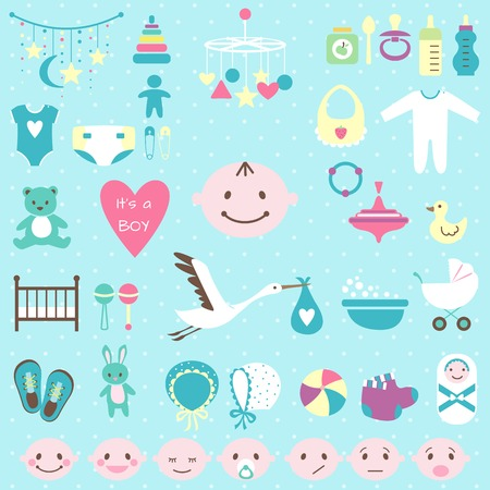 Set of baby shower flat elements isolated on white background. Vector illustration Vector