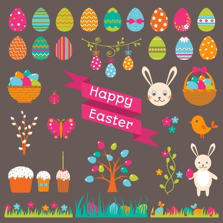 easter sunday: Set of Easter flat elements. Vector illustration.