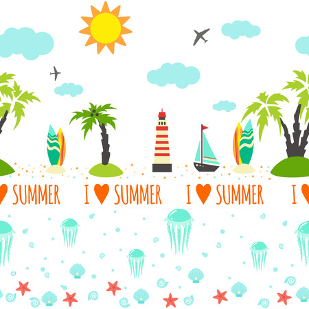 Horisontal summer seamless pattern for trip.Vector illustration Vector