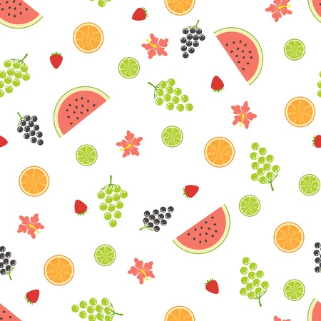 Summer seamless pattern with fruits. Vector illustration Vector