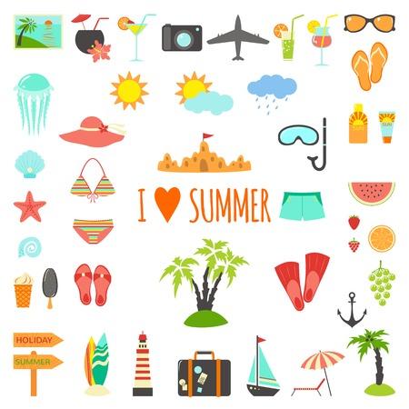 Set van platte zomer elementen. Vector illustratie Stock Illustratie