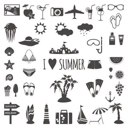 Set of flat summer icons. Vector illustration