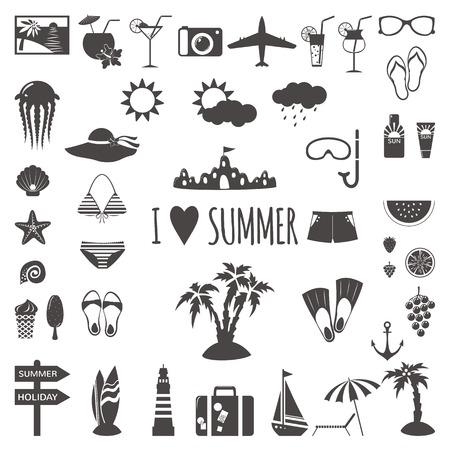 Set of flat summer icons. Vector illustration