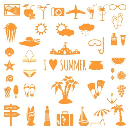 Set of flat summer icons. Vector illustration Vector
