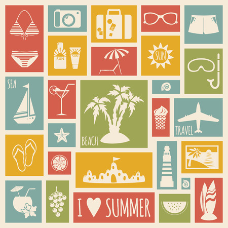 Summer holiday card with flat elements. Vector illustration Vector
