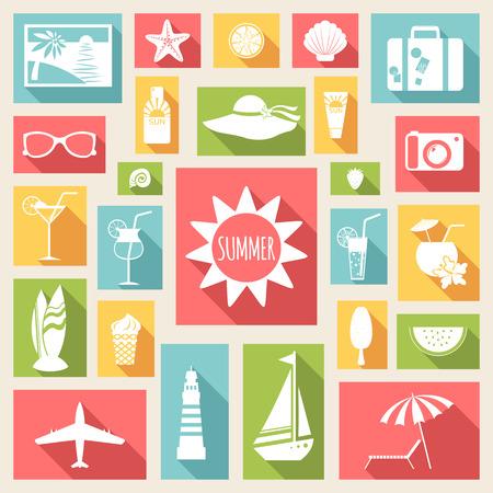Satz Sommer Ferienwohnung Elemente. Vektor-Illustration