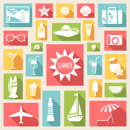 hot tour: Set of summer holiday  flat elements. Vector illustration