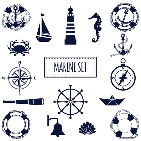 Set of flat marine elements. Vector illustration