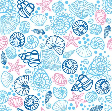seashell: Seamless pattern with seashells on white background. Vector illustration