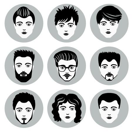 Set of stylish guys in modern flat design. Vector illustration