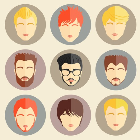 Set of stylish guys in modern flat design. Vector illustration Vector