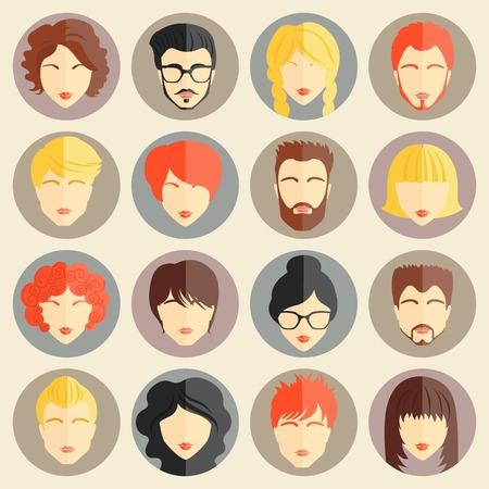perfil de mujer rostro: Conjunto de avatares elegantes de las muchachas y muchachos en dise�o plano. Ilustraci�n vectorial