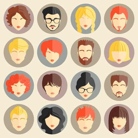 woman profile: Set of stylish avatars of girls and guys in flat design. Vector illustration