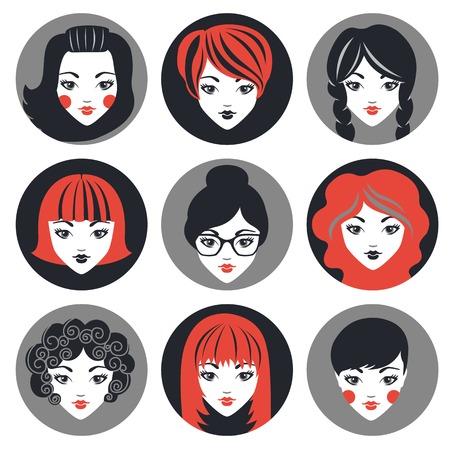Set von stilvollen Mädchen in der modernen Wohnung Design. Vektor-Illustration Illustration