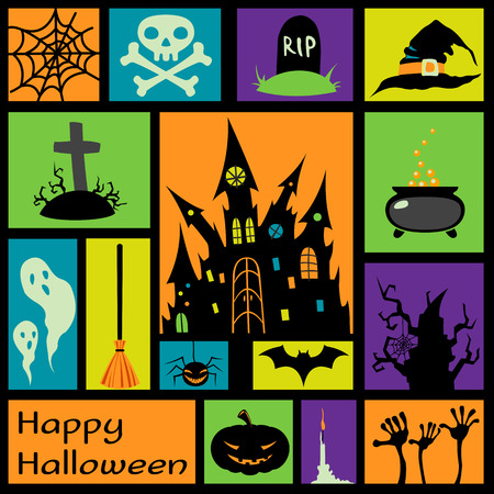 Halloween card with modern flat elements. Vector illustration Vector