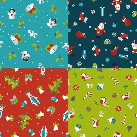 Set of four Christmas seamless patterns. Vector illustration Vector