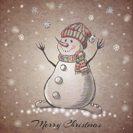 bonhomme de neige: La main de style de croquis dessin� Snowman. Vector illustration
