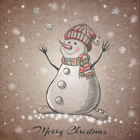 snowman background: Sketch style hand drawn Snowman. Vector illustration