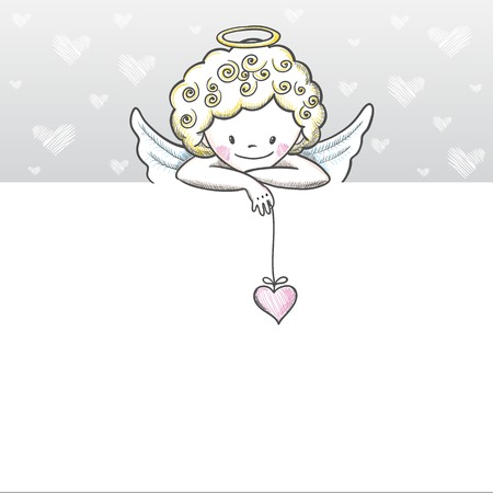 Cute Valentines day banner with sketch Cupid. Vector illustration