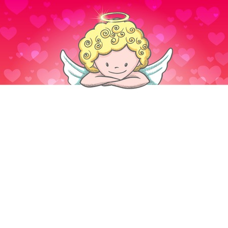 valentine's day banner: Cute Valentines day banner with sketch Cupid. Vector illustration