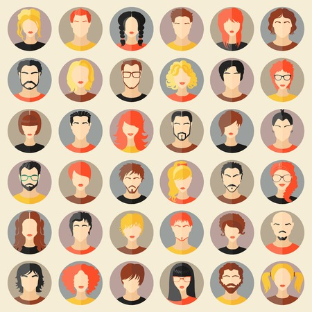 Set of stylish avatars of girls and guys in flat design. Vector illustration