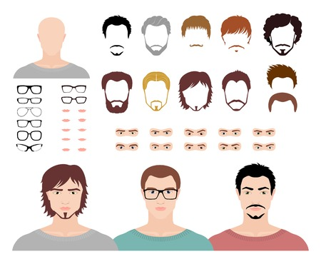 eye icon: Set for creation fashion male avatars. Vector illustration