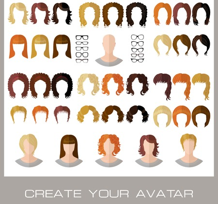 Set for creation of a fashion female avatars in flat style. Vector illustration