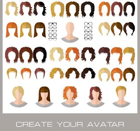 Stellen Sie für die Schaffung eines Mode weibliche Avatare in flachen Stil. Vektor-Illustration