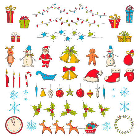 santa claus greeting: Set of Christmas and new year elements in sketch style