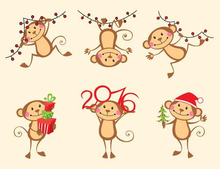 jumping monkeys: Happy monkey cartoon New Year set