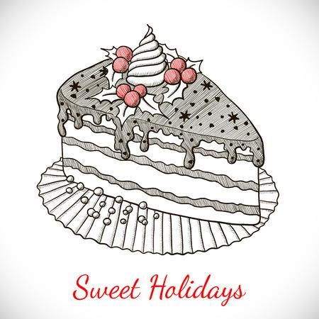 porcion de pastel: Tarjeta de Navidad con pastel en el estilo de dibujo. ilustración vectorial
