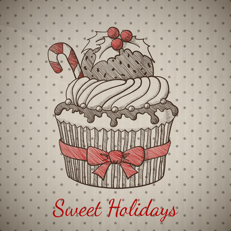 cupcake illustration: Christmas card with cupcake in sketch style. Vector illustration