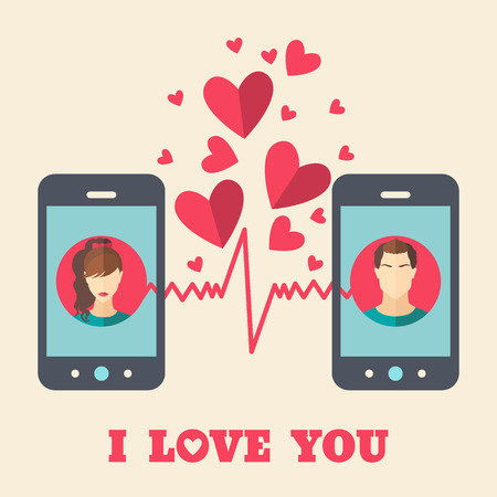 displays: Valentines day card with man and woman avatars on smartphone displays in flat style. Vector illustration Illustration