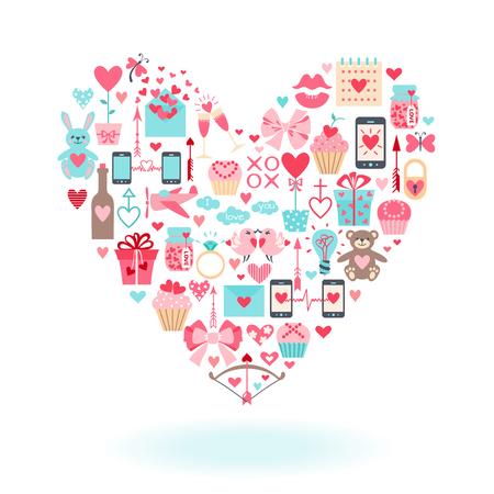 arco y flecha: iconos planos del día de San Valentín organizan en forma de corazón. Ilustración del vector. Vectores