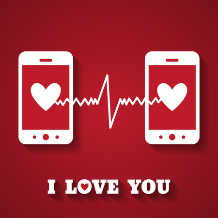 displays: Valentines day card with hearts on smartphone displays.