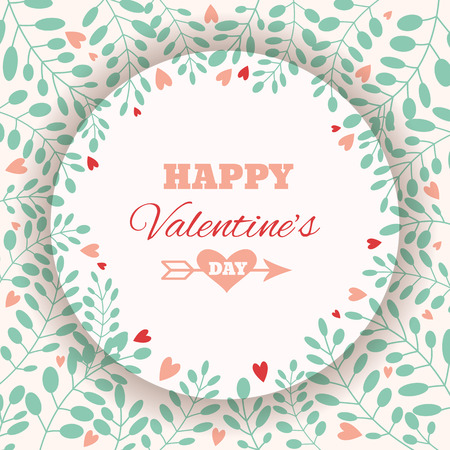floral elements: Valentines Day greeting card with floral elements and hearts. Love concept. Vector illustration. Illustration