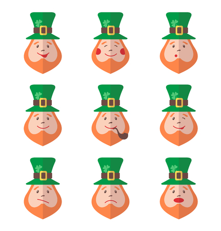 red haired: Set of Leprechaun avatars with emotions. Vector illustration Illustration