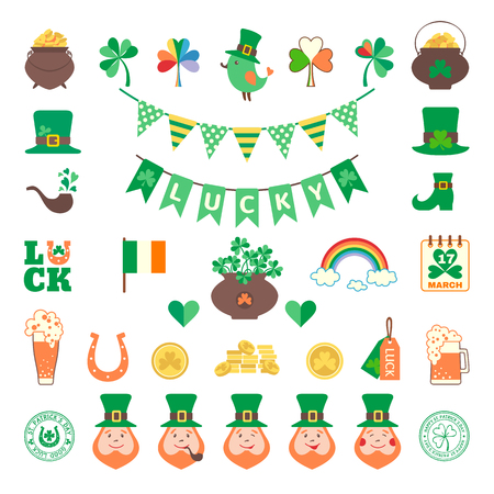 vector set: Saint Patricks day icon set in flat style. Vector illustration