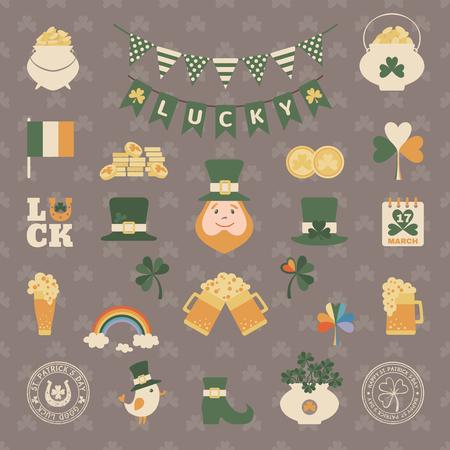 animal st  patricks day: Saint Patricks day icon set in flat style. Vector illustration