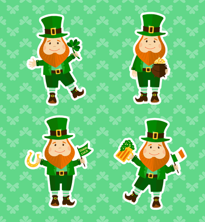 leprechauns: Set of four stickers with funny leprechauns in different poses. Saint Patricks Day. Vector illustration