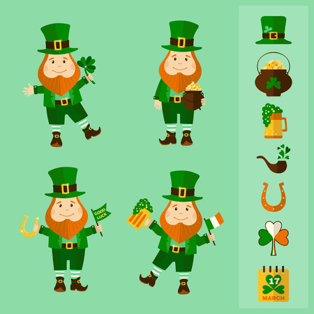 Saint Patricks Day set. Four leprechauns and traditional elements: hat, pot of gold, smoke pipe, horseshoe, clover, beer and calendar. Vector illustration