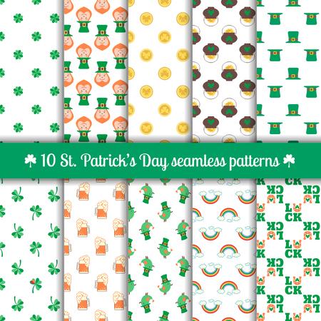 herradura: Conjunto de 10 patrones sin fisuras para el diseño Día de San Patricio con elementos tradicionales de este día de fiesta leprechaun, trébol, monedas, mina de oro, sombrero, arco iris, herradura, la cerveza. ilustración vectorial