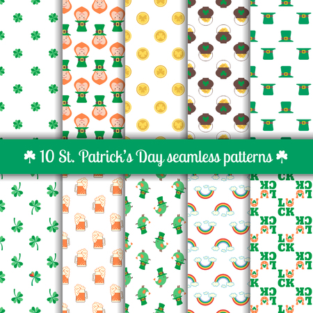 gold leaf: Set of 10 seamless patterns for Saint Patricks Day design with traditional elements of this holiday: leprechaun, clover, coin, pot of gold, hat, rainbow, horseshoe, beer. Vector illustration