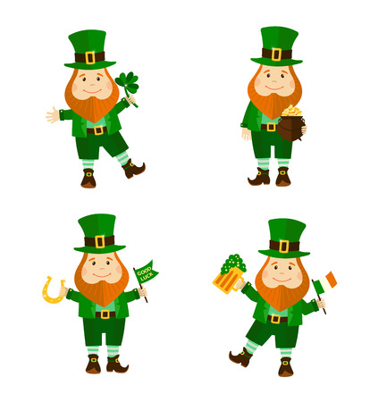 Set of four funny leprechauns in different poses. Saint Patricks Day. Vector illustration