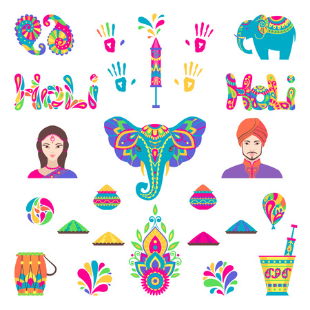 thali: Set of Holi flat icons in indian style. Vector illustration