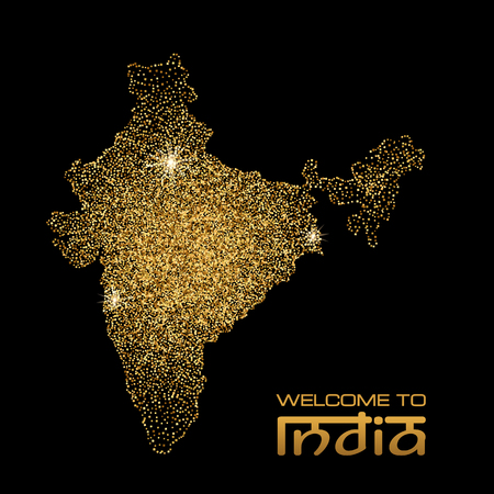 india pattern: Gold glitter India map on black background. Vector illustration