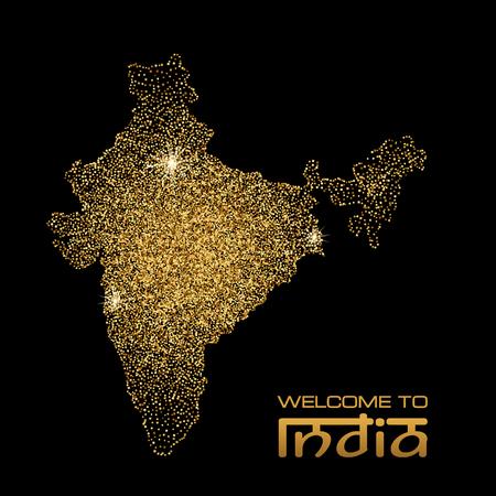 Gold glitter India map on black background. Vector illustration