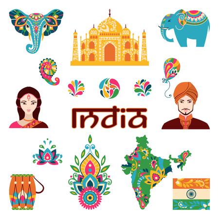 Ensemble d'icônes indiens plats: les gens indiens, taj mahal, drapeau, carte, tambour, lotus, mehendi, éléphant. Vector illustration