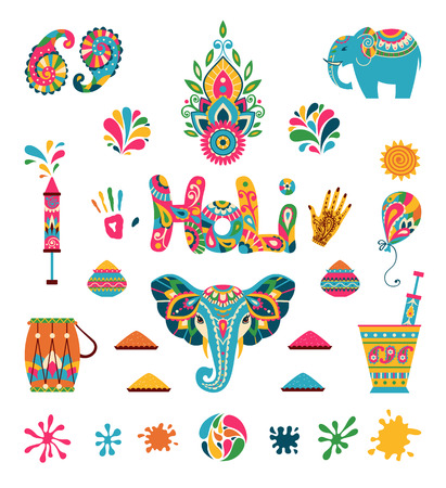 holi: Set of Holi flat icons in indian style. Vector illustration