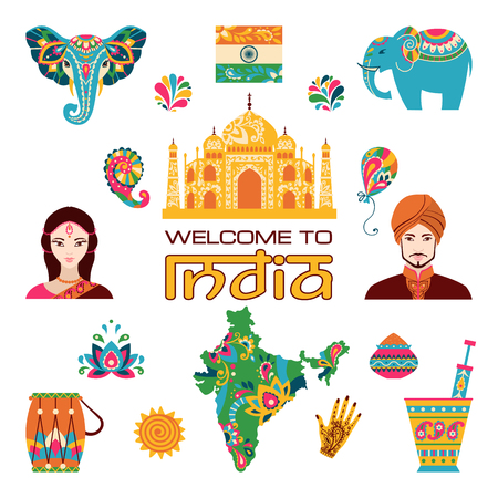 india culture: Set of Indian flat icons: indian people, taj mahal, flag, map, drum, lotus, mehendi, elephant.  Vector illustration Illustration